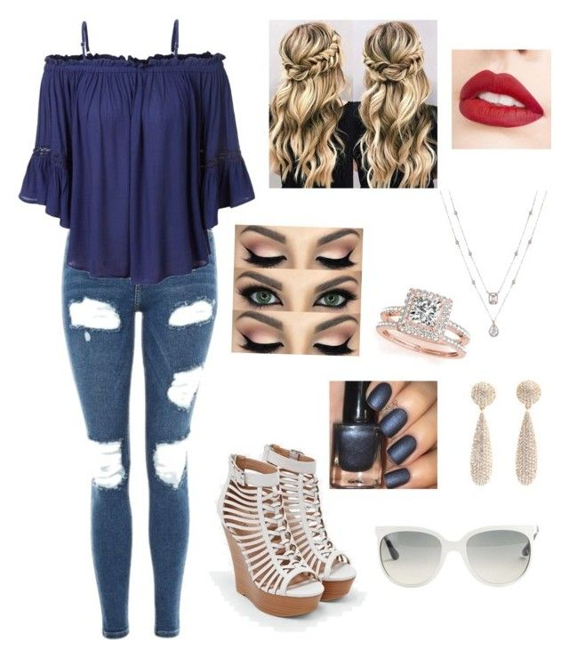 """""""Untitled #60"""" by suzannefri on Polyvore featuring Topshop, LE3NO, JustFab, Jouer, Allurez and Ray-Ban"""