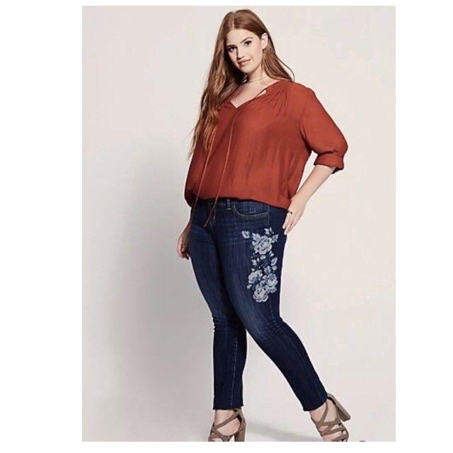 89e95ba72ea Torrid Women s Size 16 Dark Wash Floral Embroidered Stitched Skinny Jeans  Denim  Torrid  FloralSlimSkinny