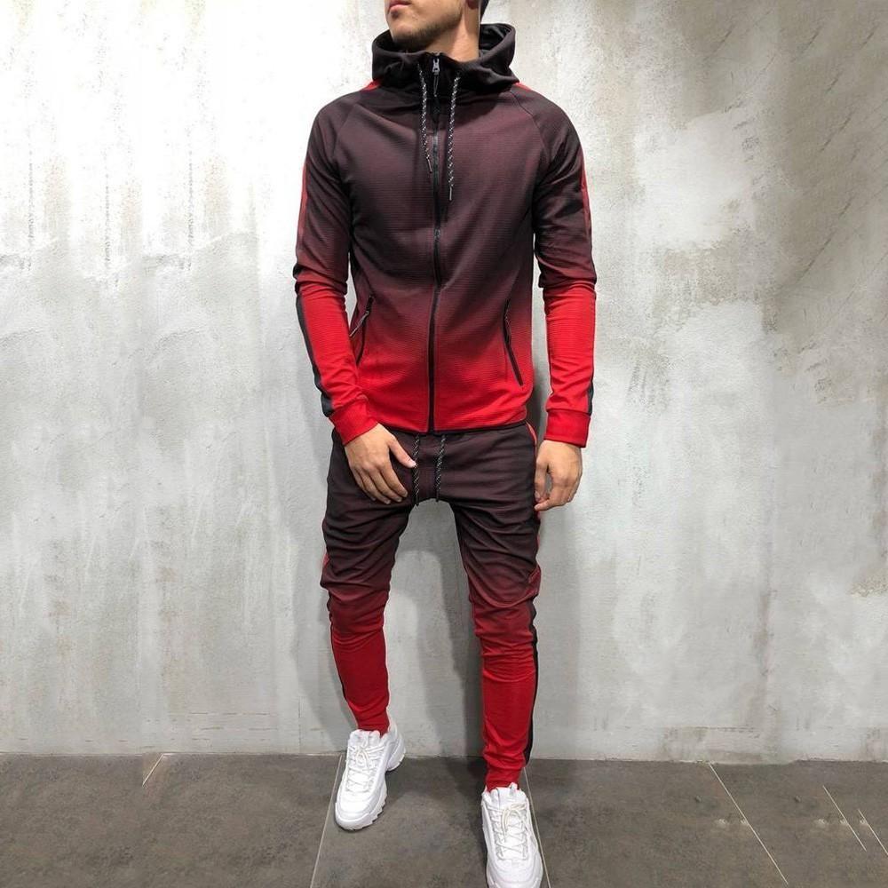 Men/'s Tracksuit Jogging Sportswear Sweat Suit Hoodie+Pants Set 2 Pcs Summer 2019