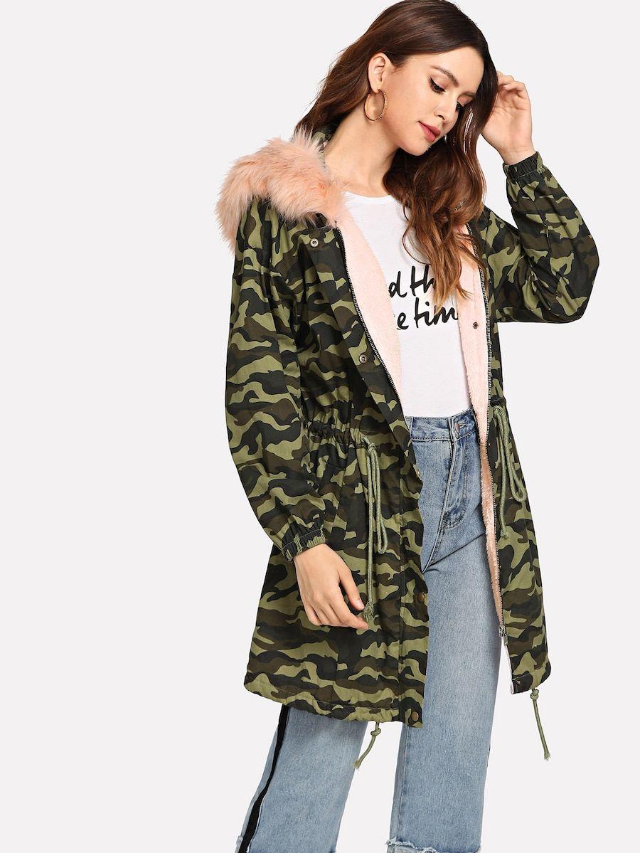 Faux Fur Detail Fleece Lined Camo Parka Coat Shein Sheinside Parka Coat Coat Parka [ 1199 x 900 Pixel ]