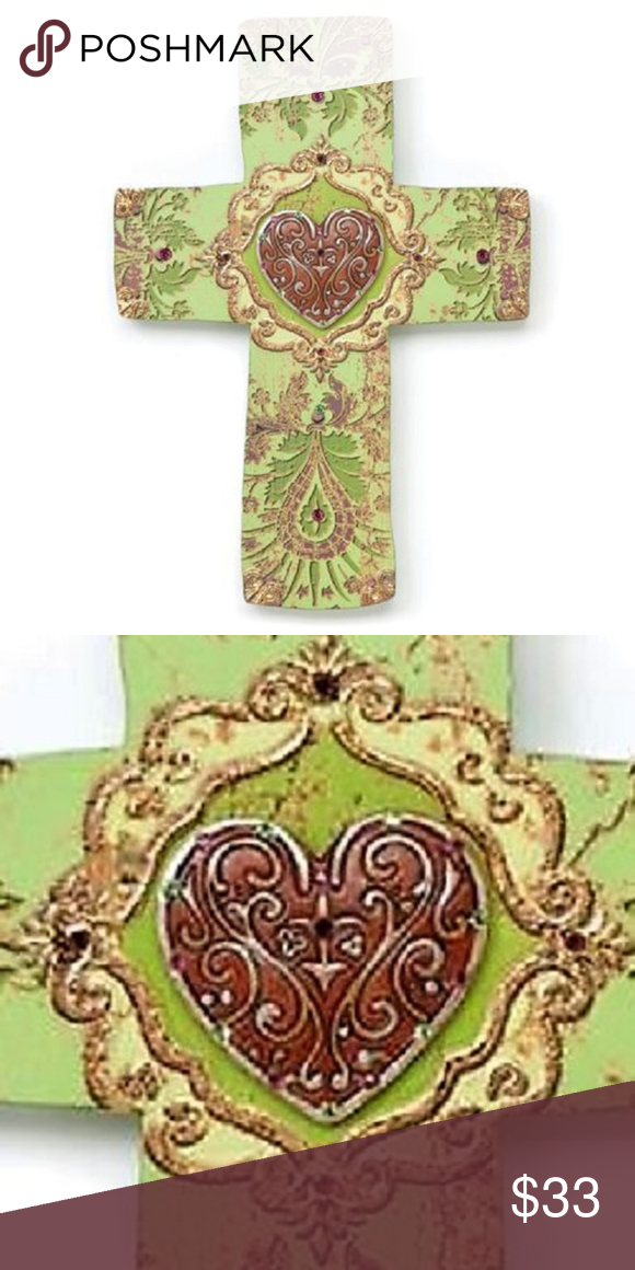 Heaven And Nature 9 Green Heart Wall Cross Resin Heart Wall Wall Crosses Home Wall Art