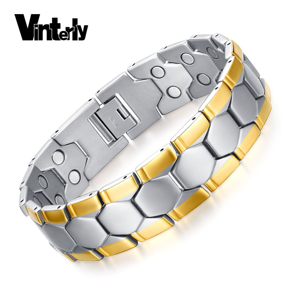 Vinterly health energy bracelet men football design gold color bio