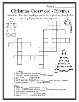 christmas rhyme christmas phonics christmas grammar christmas crossword puzzle this crossword activity gives students rhyming words as clues to help