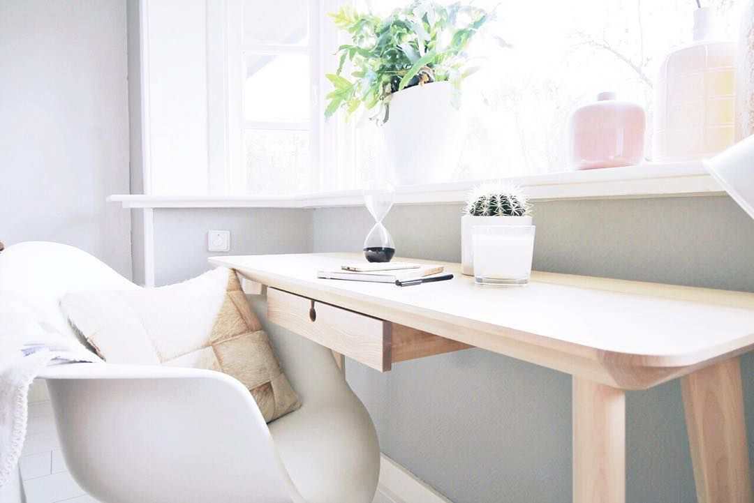Gorgeous Scandi Desk Space Sit Back On One Of Our Sweet Patchwork Cowhide Cushions See More Https Www Shinerugs Joinery Design Ikea New Home Office Decor