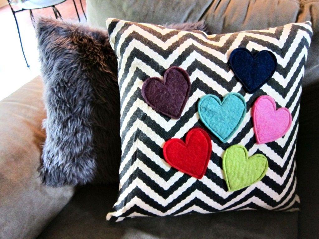 DIY Heart Applique Pillow