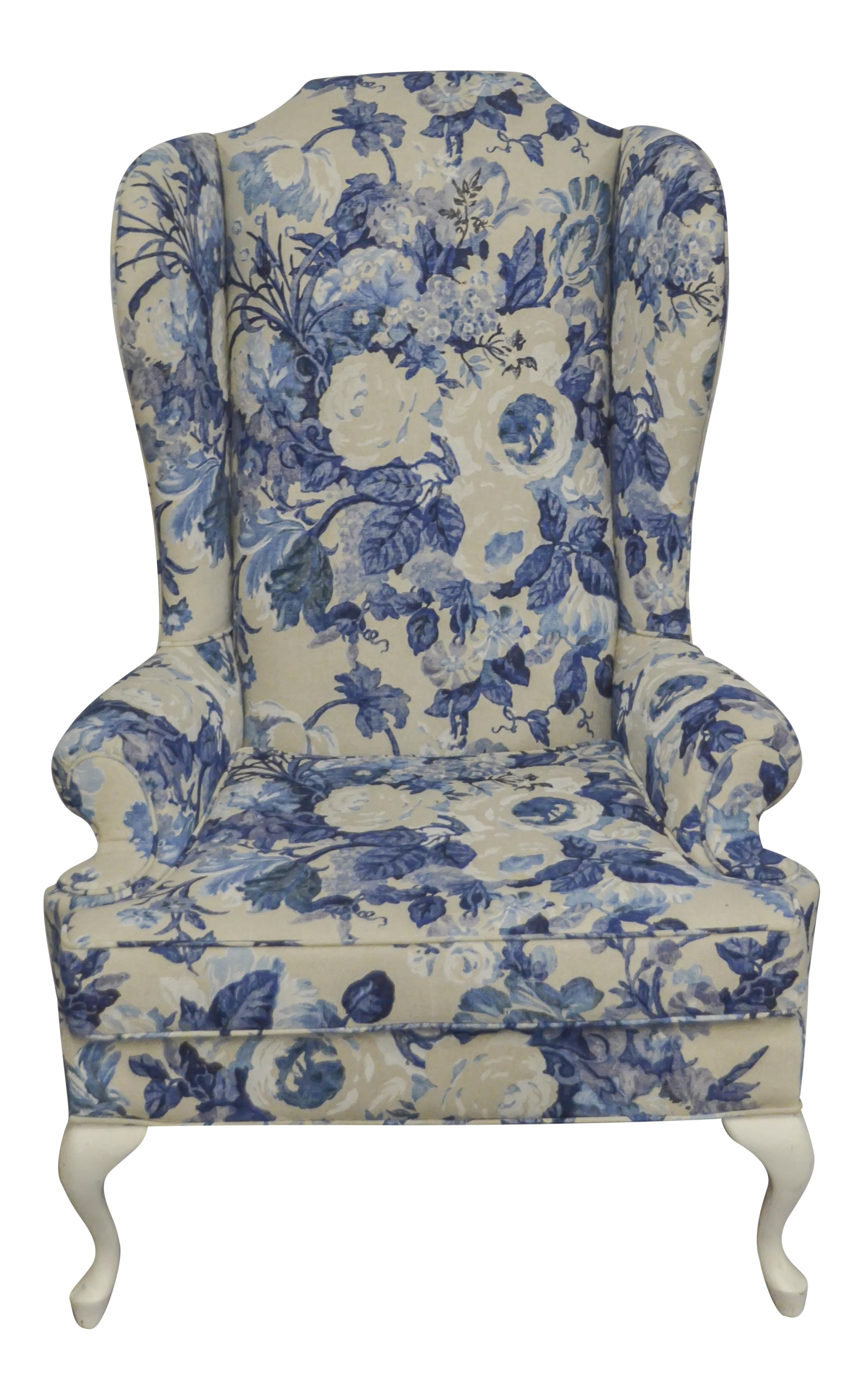 Best Vintage Duralee Linen Blue White Floral Wing Chair 400 x 300