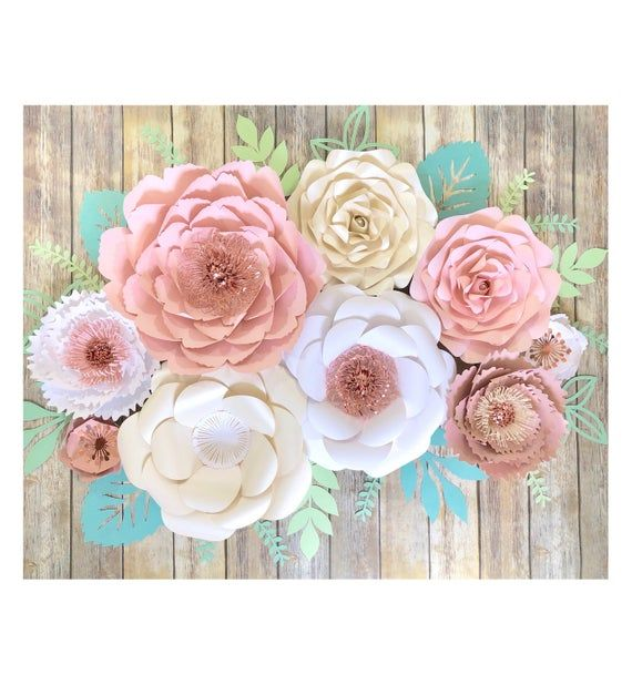 Large Paper Flowers Wall Art, Rose Gold and Blush Wedding Wall Decor for Reception, Blush Nursery Floral Decal, 3D Paper Art #largepaperflowers