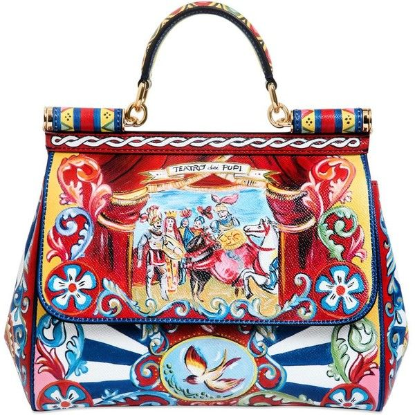 3cc6d70756 DOLCE & GABBANA Medium Sicily Puppet Print Dauphine Bag ($2,495) ❤ liked on  Polyvore featuring bags, handbags, shoulder bags, multi, dolce gabbana  shoulder ...