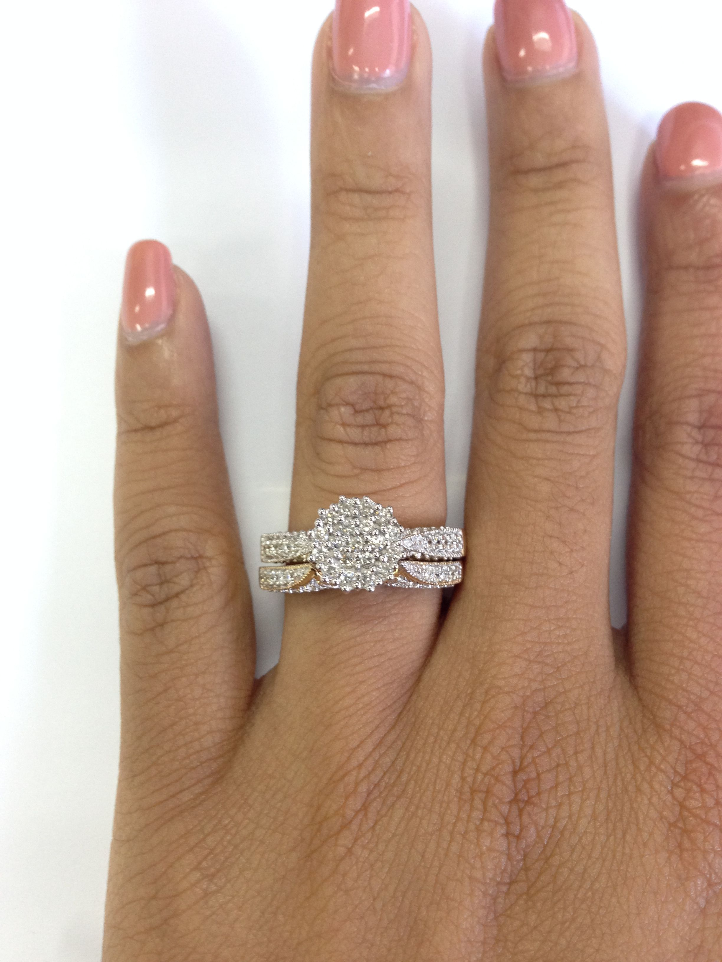 Rings On Hand Bridal Set Br103y Engagement Ring And Ladies