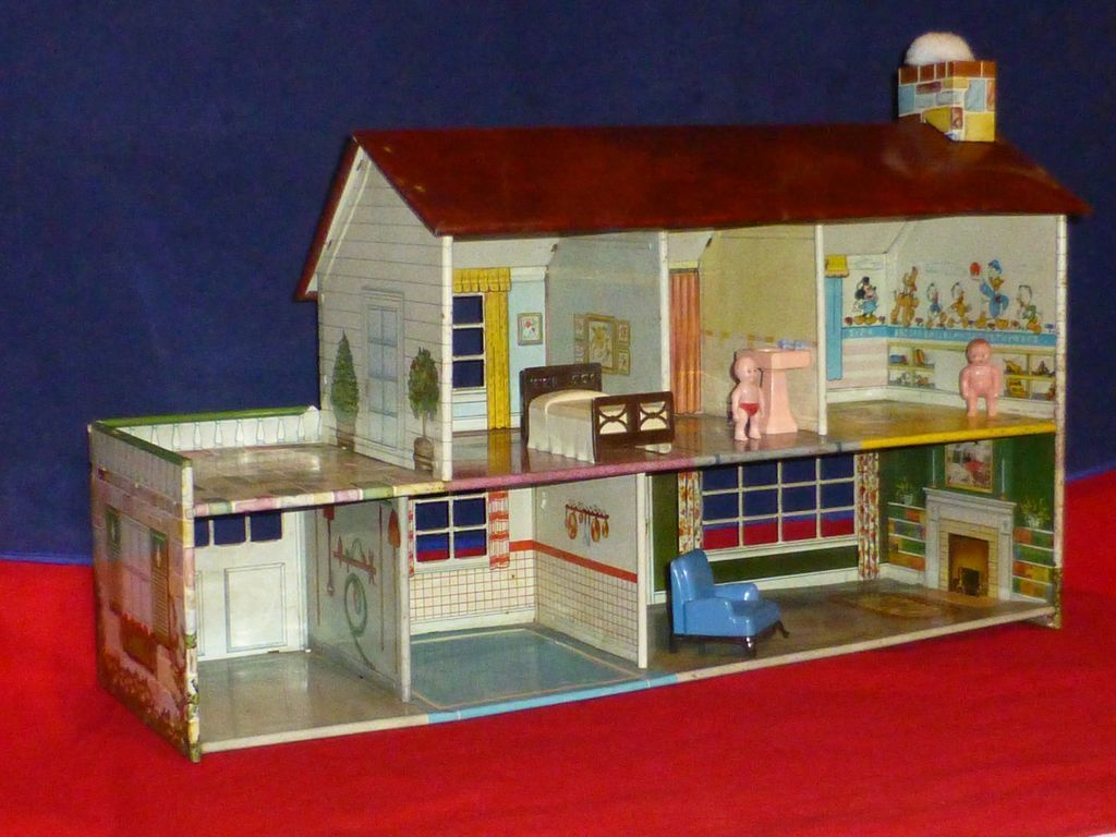 1950 toys images  us Vintage Disney Doll House Toy by Marx Toys Tin Lithograph