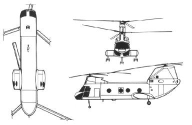 Boeing Vertol YHC-1A Chinook prototype orthographic