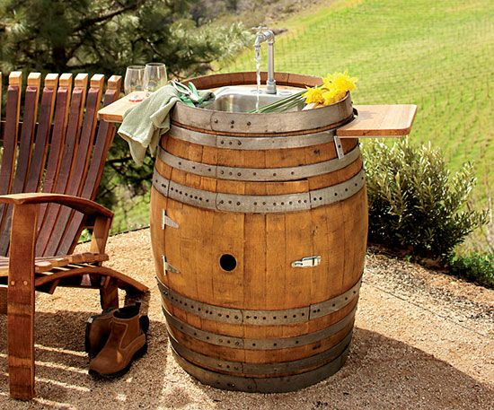 Wine Barrel Outdoor Sink Mental Note Anything Can Be