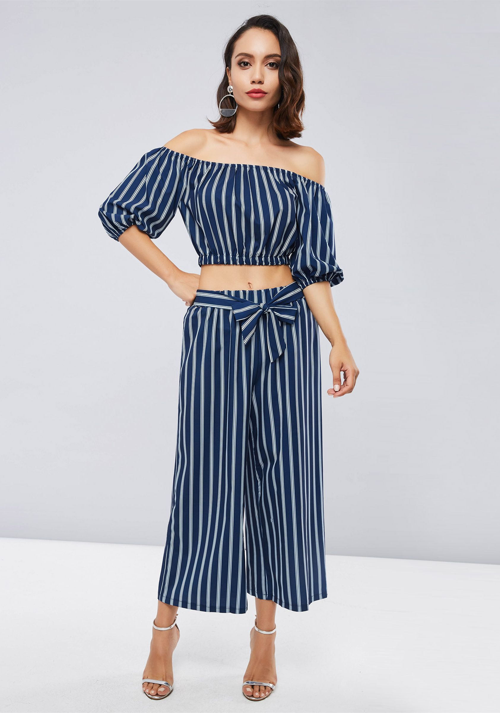 537d5b25ad265c Stripe Off Shoulder Tank Top and Pants Women s Two Piece Set