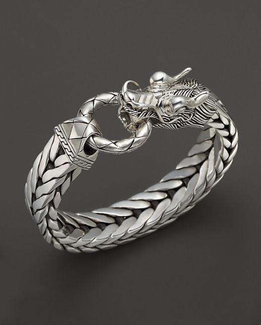 John Hardy Mens Naga Silver Dragon Head Bracelet On Fishtail Chai Like Repin