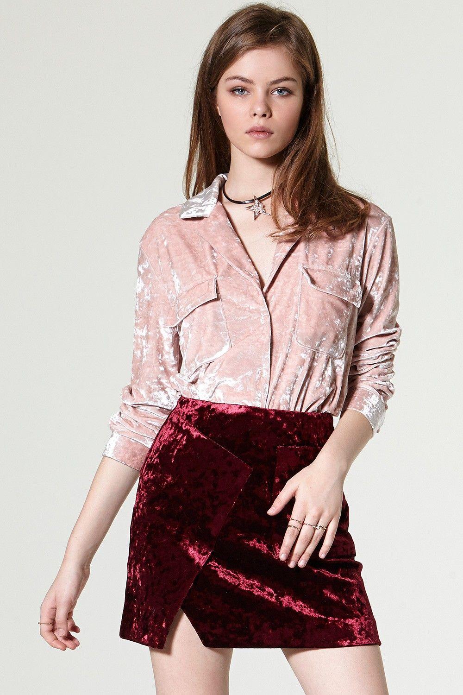 ef2720029081d Suzan Velvet Shirt Discover the latest fashion trends online at storets.com   One Shoulder