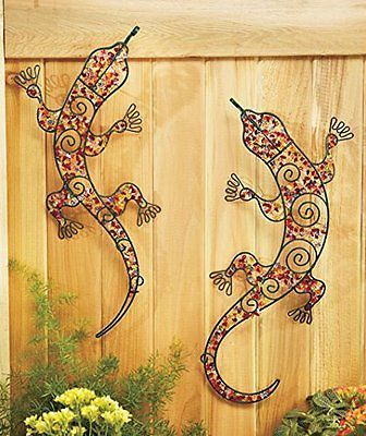 Beaded Metal Garden Art Chameleon Wall Decoration Gecko Patio Lizard Fence  Post