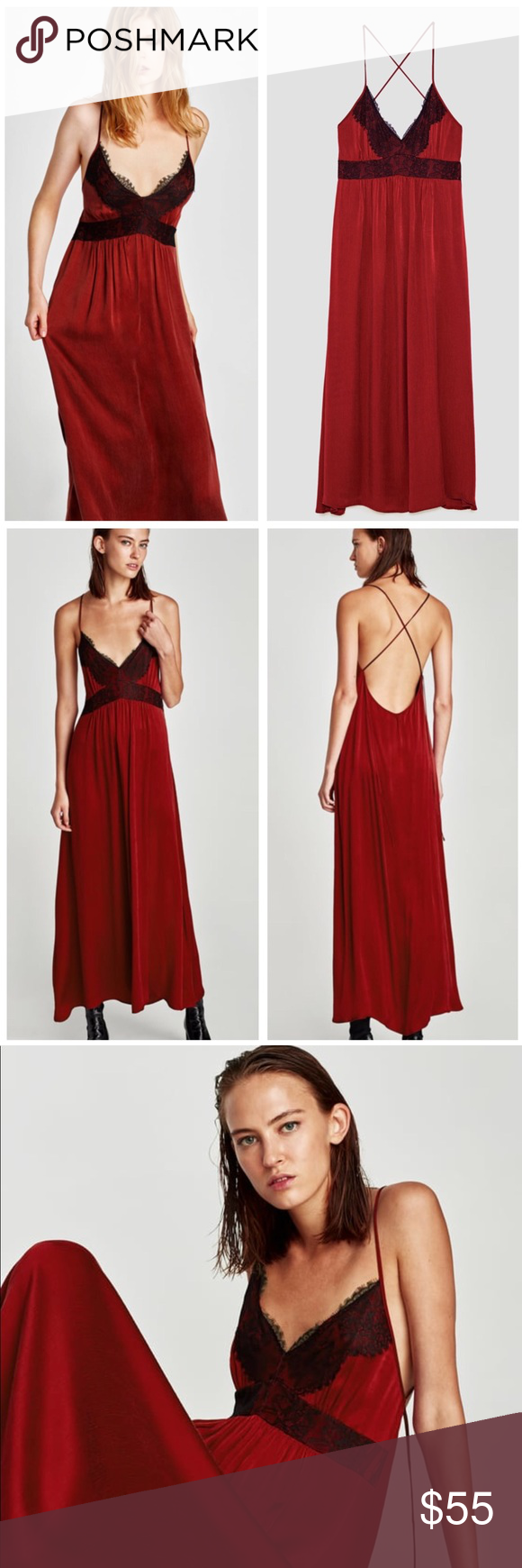 Zara Plus Size Red Camisole Lace Slip Dress Lace Lace Slip Dress
