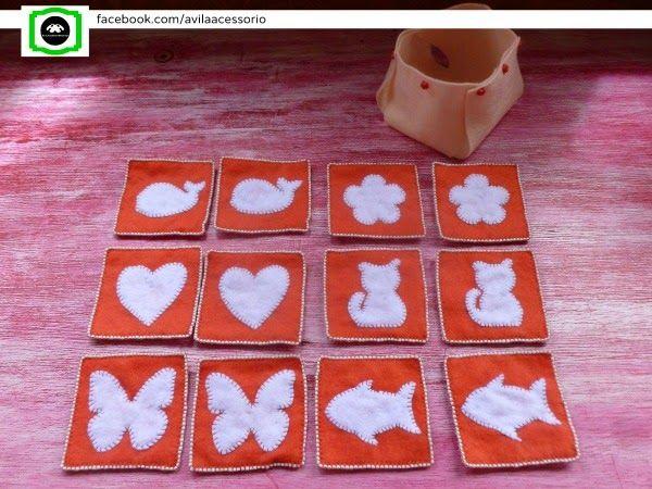 Jogo da memória em feltro. 12 peças em feltro e bordados. Caixinha em feltro.
