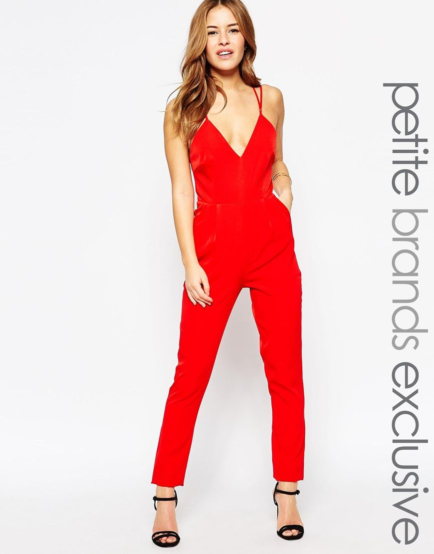 True Decadence Petite Strappy Plunge Front Jumpsuit | Dresses ...