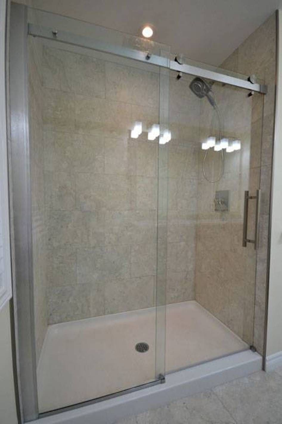 Shower Pan With Sliding Glass Door In Bathroom · Tiled ShowersShower  TilesShower DoorsHow To Tile A ...