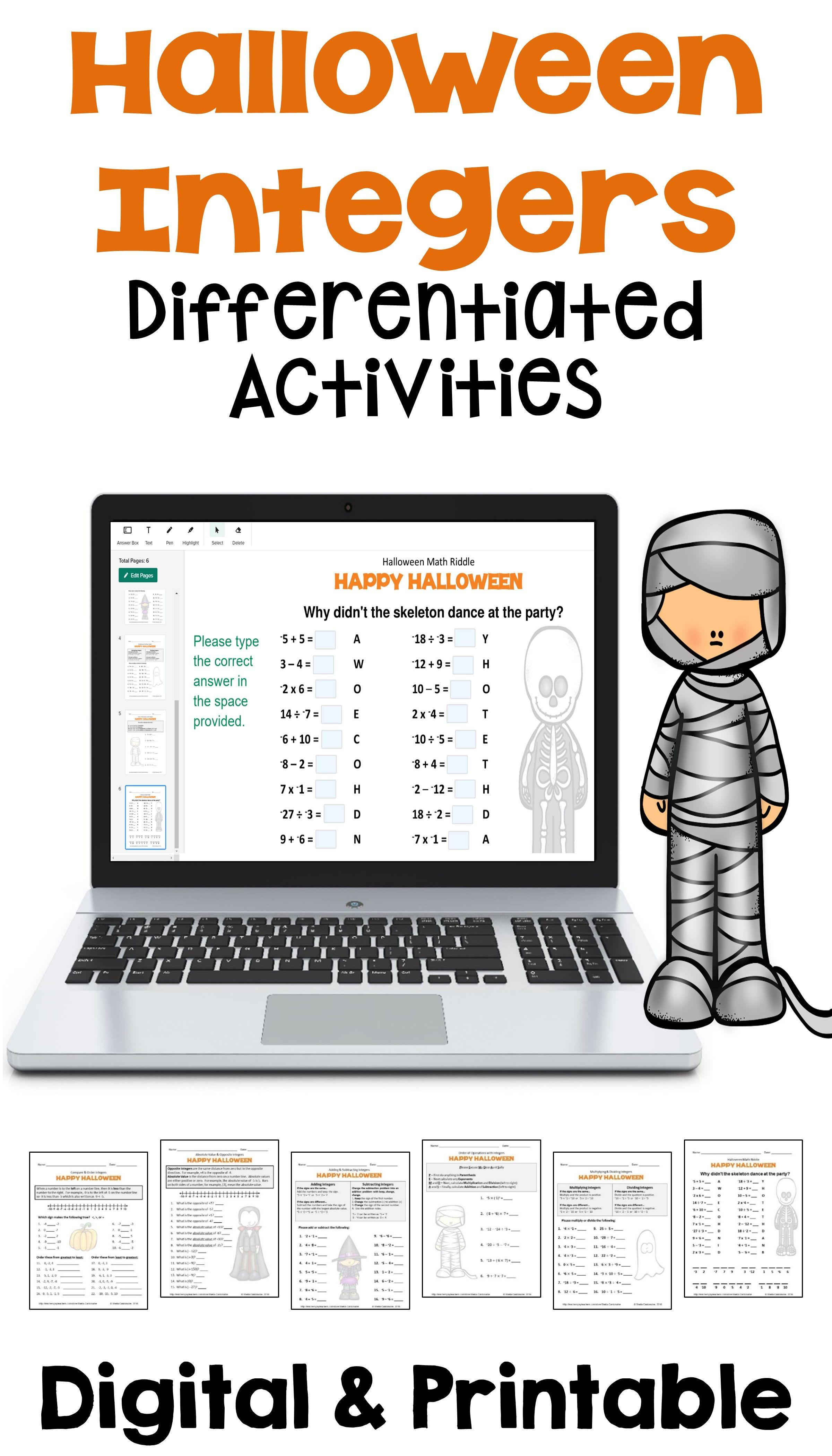 Halloween Integers Differentiated Activities with Digital