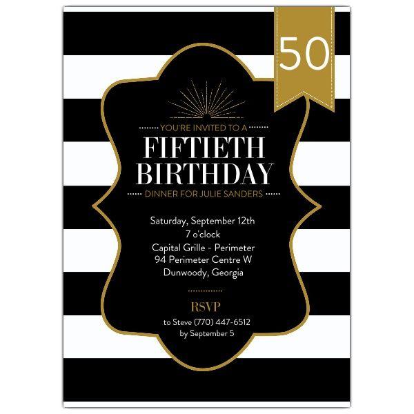 50th Birthday Stripes Black And Gold Invitations – 50 Year Old Birthday Invitations