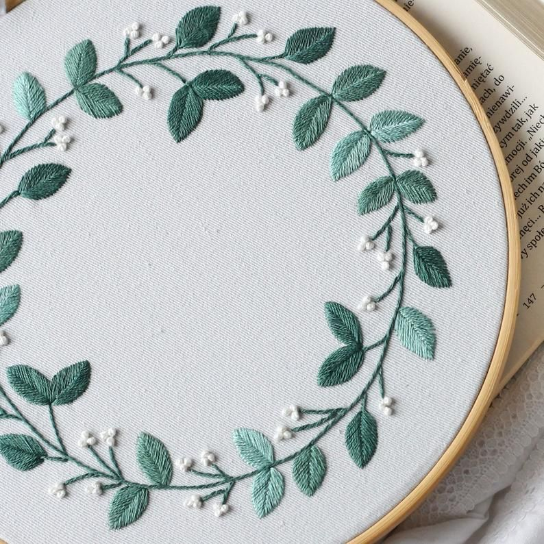 Wreath hand embroidery patterns to downloads   Etsy