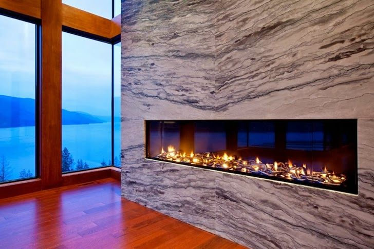Love The Long Rectangular Very Modern Fireplace Obviously A Gas Fireplace Lake House Modern Mansion Mansions