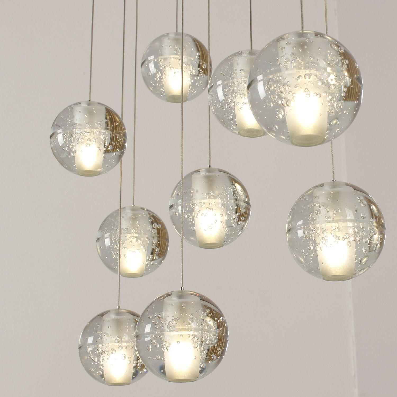Modern Glass Ball Crystal Led Ceiling Light Pendant Lamp Kitchen