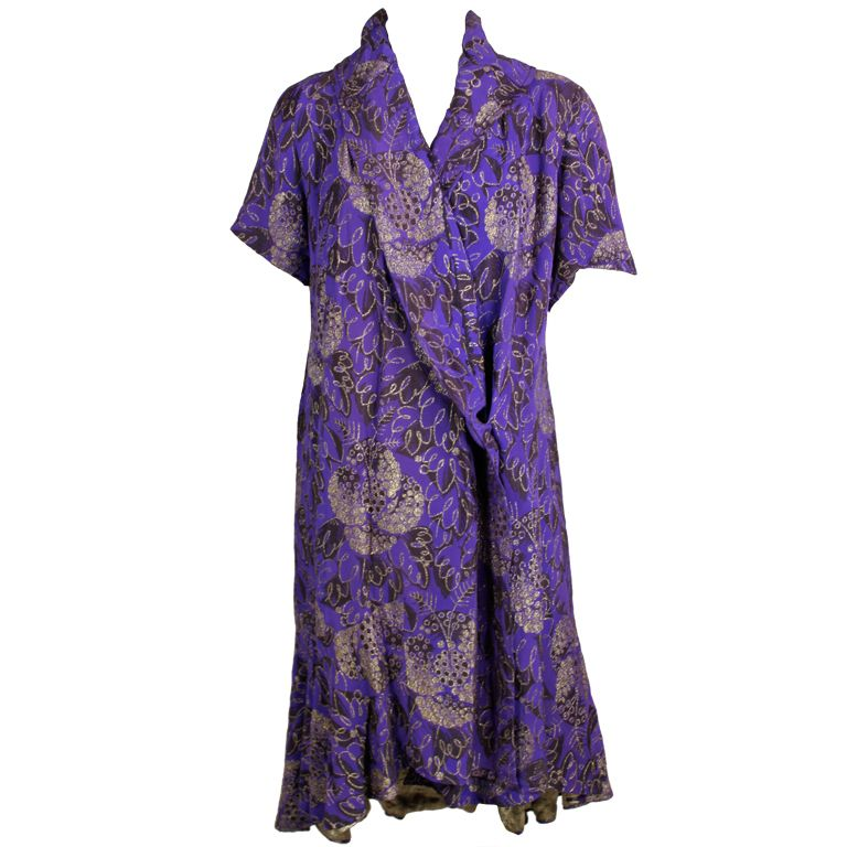 1920s Purple and Gold Lame Short Sleeve Coat
