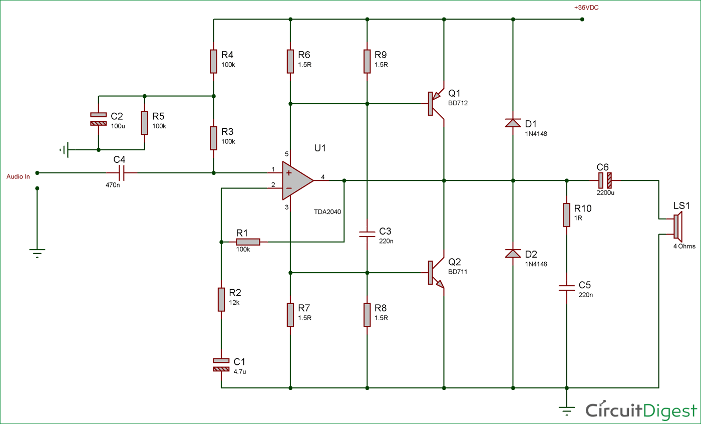 Circuits Gt Car Amplifier Circuit Schematic Using Tda2040 Integrated