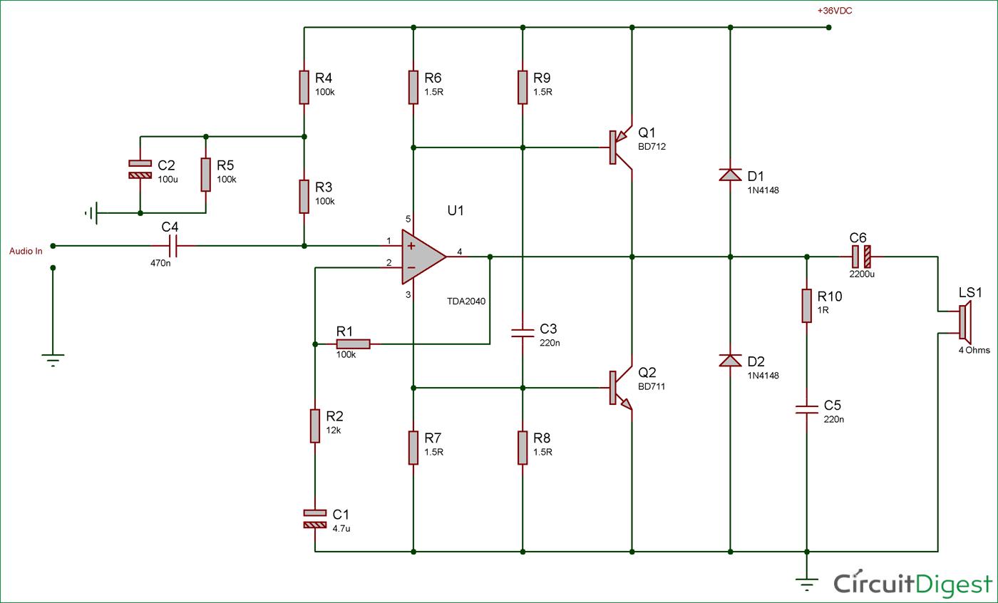 Circuit Diagram Of Car Stereo Amplifier Circuit Using Tda2040