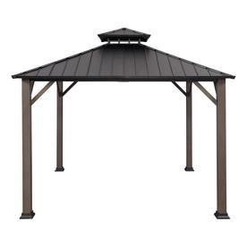 Allen Roth Black Woodgrain Metal Square Gazebo Exterior 10 925 Ft X 10 925 Ft Foundation 10 Ft X 10 Ft Lowes Com Gazebo Hot Tub Gazebo Patio Gazebo