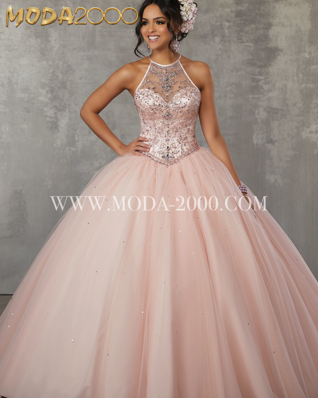 193aeea3d2e Blush pink halter quinceanera dress