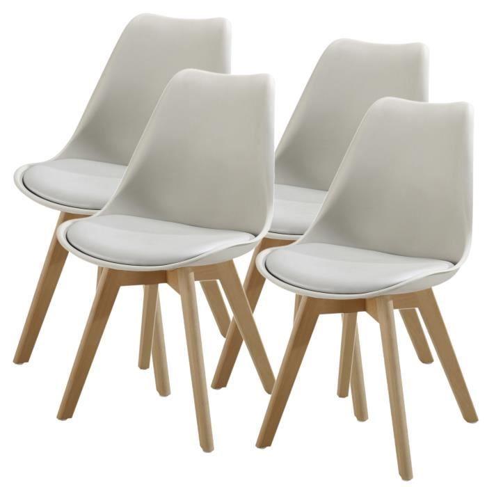 Lot de 4 chaises de salle à manger en bois hêtre massif - Revêtement