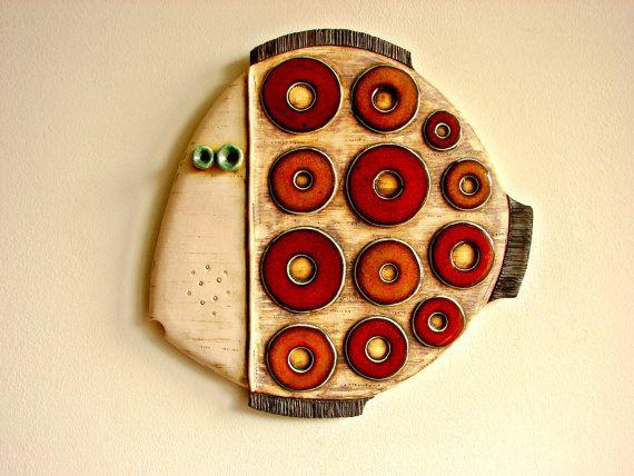 Fish-Handmade ceramic art tile. 26/26 sm. 10,24/10,24 inches ...