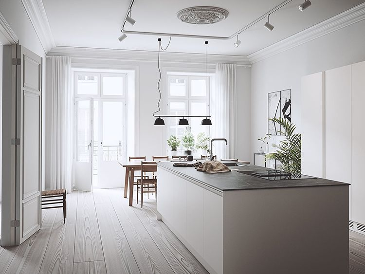 Bright Scandinavian Kitchen With Large Island Scandinavian Kitchen Interior Design Kitchen Kitchen Interior
