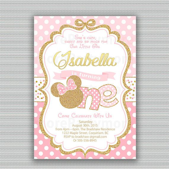 Pink And Gold Minnie Mouse Birthday Party Invitation 2nd