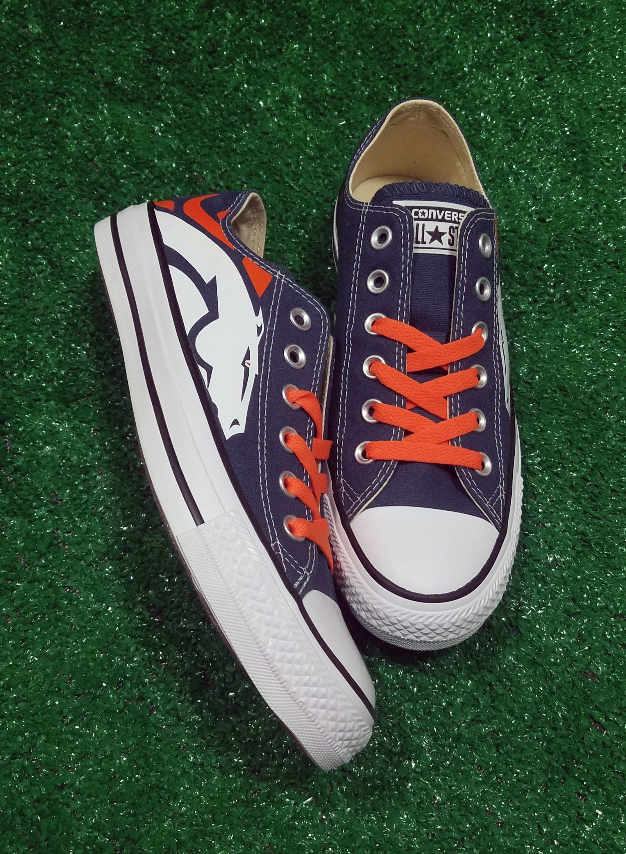 277c3bff0c387e Bandana Fever Denver Broncos Print Custom Navy Converse Low Top Shoes   sneakers  sportsnation