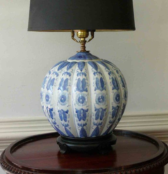 Vintage Chinoiserie Lamp Blue White Mid Century Round Lighting End Table  Asian Light Cottage Beach Light Home And Living Home Decor