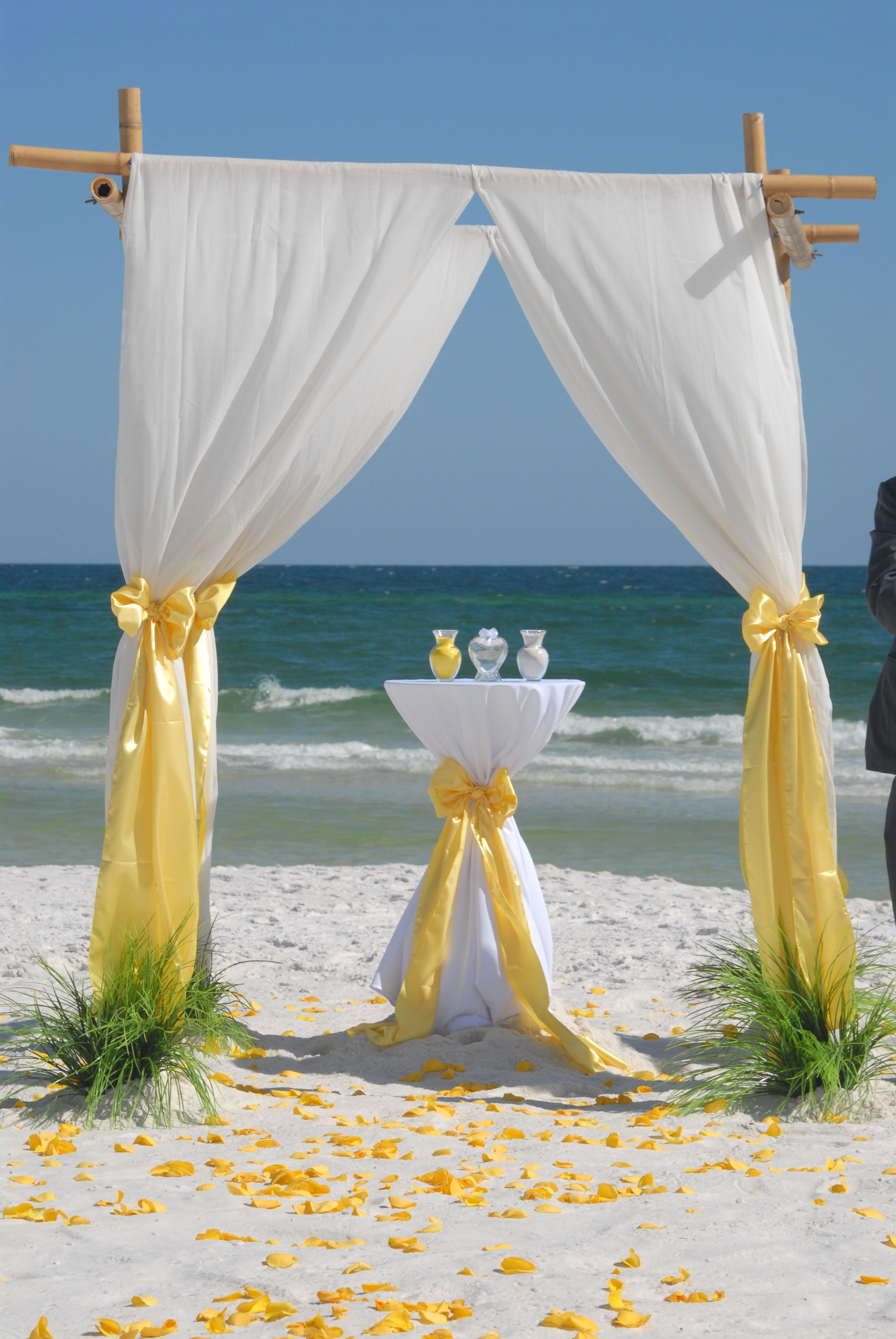 barefoot bamboo beach wedding arbor with unity sand table - Bamboo Canopy 2015