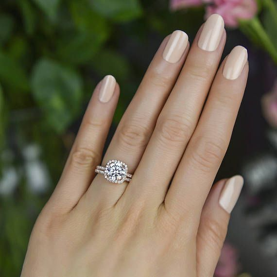 2 25 Ctw Classic Square Halo Wedding Set Man Made Diamond Etsy Square Wedding Rings Square Engagement Rings Halo Wedding Set