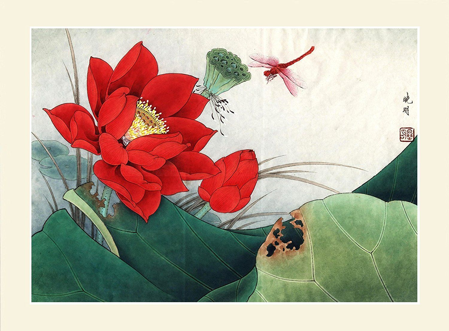 Amazon ink wash modern chinese red lotus flower painting lotus amazon ink wash modern chinese red lotus flower painting lotus pond wall art home decoration for living room 28x28 paintings izmirmasajfo