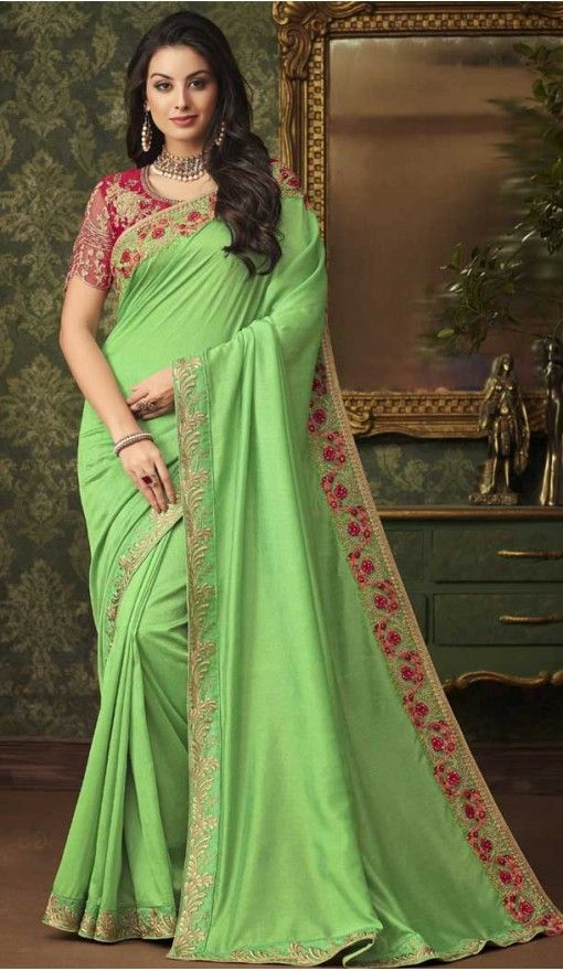 d740f5301a Green color silk designer party wear saree sarees saris fashion wedding onlineshopping  heenastyle also online shopping