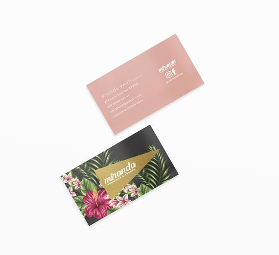 Miranda Gold Double Sided Business Card - Instant download deidei