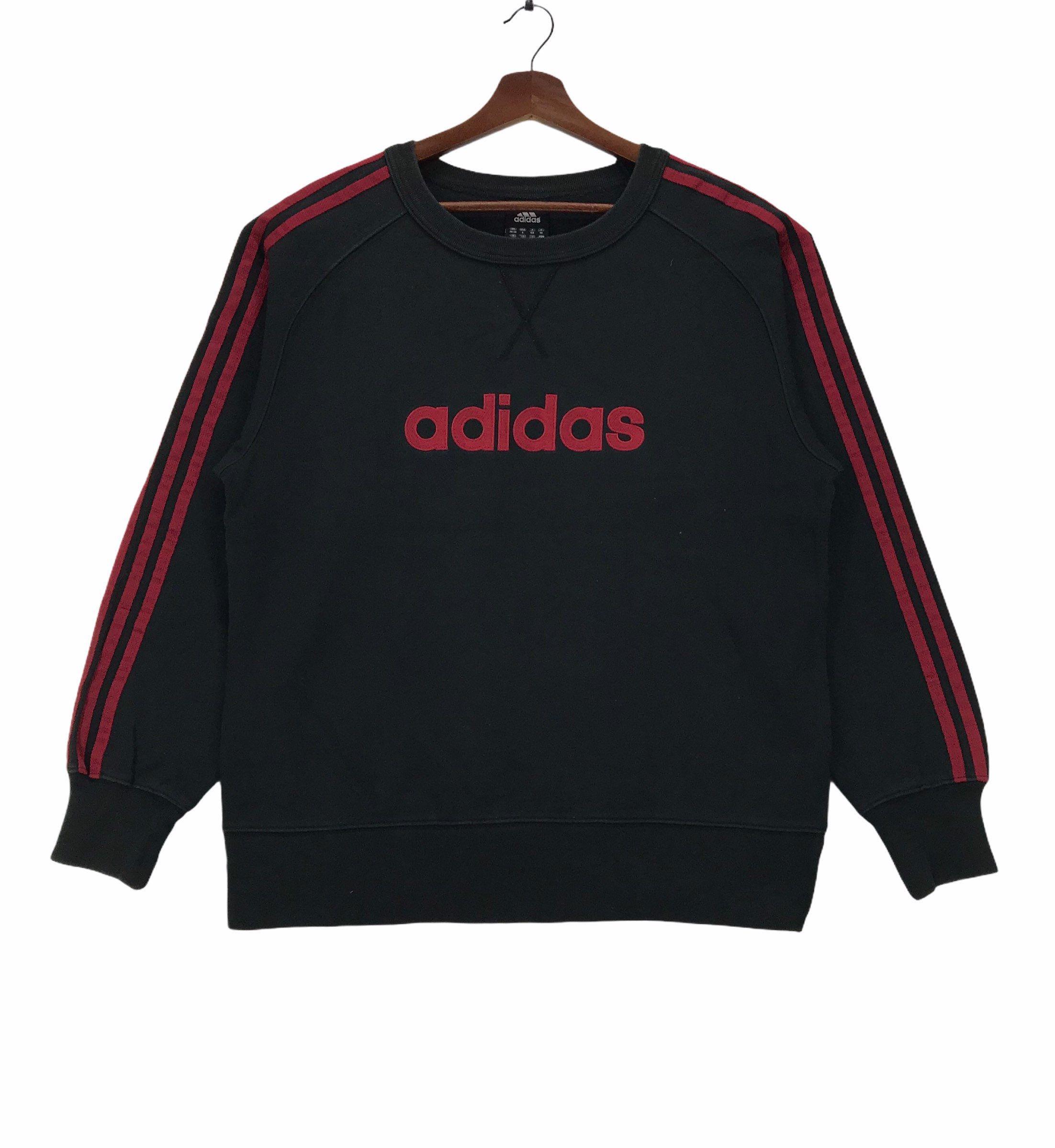 Vintage Adidas Stripe Sweatshirt Streetwear Fashion Embroidery Spellout Adidas Medium Size Vintage Sweatshirt B Sweatshirts Vintage Adidas Striped Sweatshirts [ 2400 x 2204 Pixel ]
