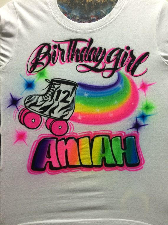 Airbrushed Roller Skate Birthday Shirt By UnlimitedAirbrush 2200
