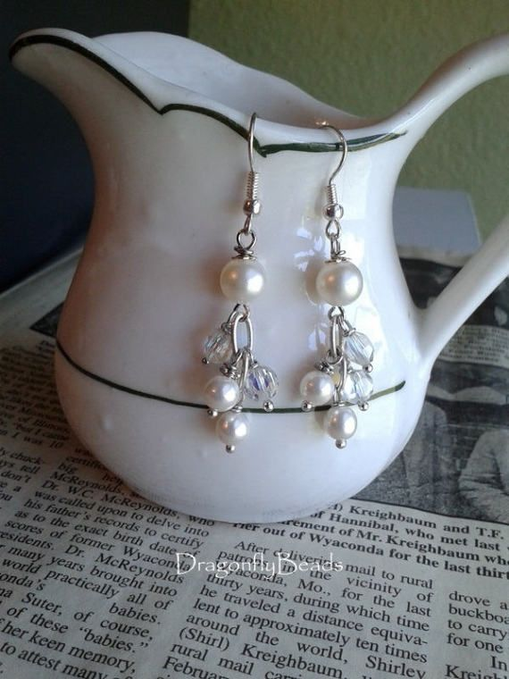 Pearl Earrings Pearl Jewelry Bridal Earrings Bridal by DflyBeads