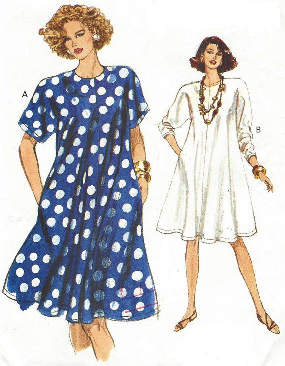90s Womens Swing Dress Dolman Sleeves Very Easy Very Vogue Sewing Pattern 7743 Size 12 14  sc 1 st  Pinterest & 90s Womens Swing Dress Dolman Sleeves Very Easy Very Vogue Sewing ...