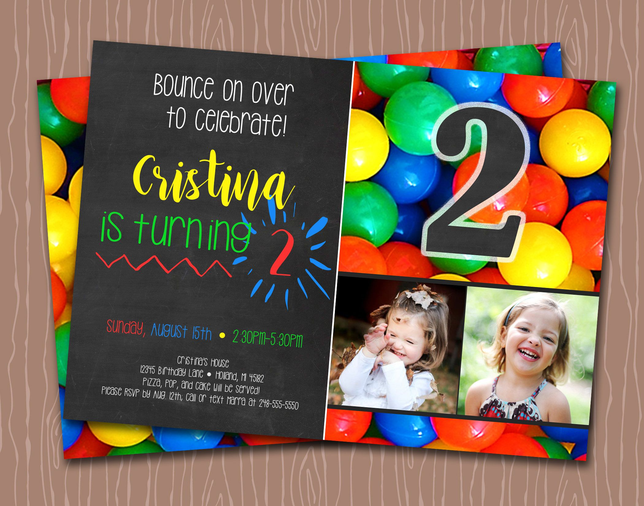 Bouncy Ball - Ball Pit - Birthday Invitation - Primary Colors - 1st ...
